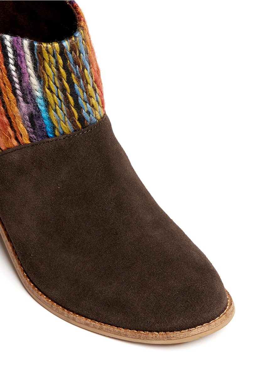 ed2ac06fbe0 TOMS  leila  Textile Suede Combo Ankle Boots - Lyst