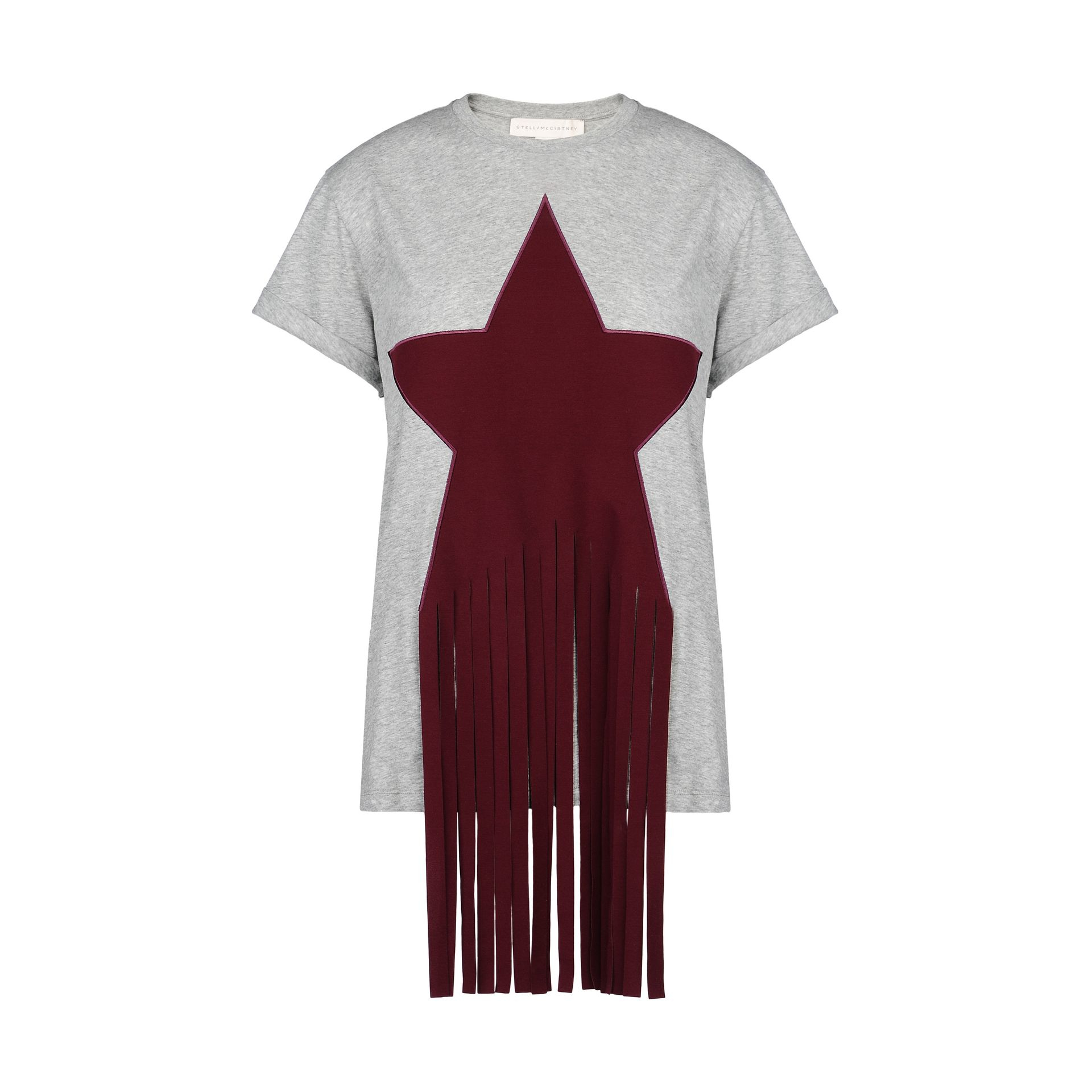 Stella Mccartney Grey Embellished Star Patch T Shirt In