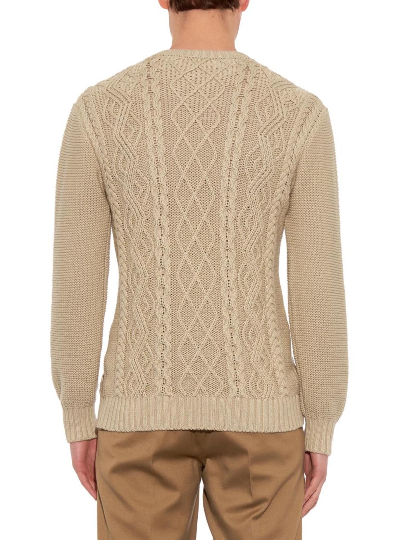 Inis meain Aran-Knit Crew-Neck Sweater in Natural for Men ...