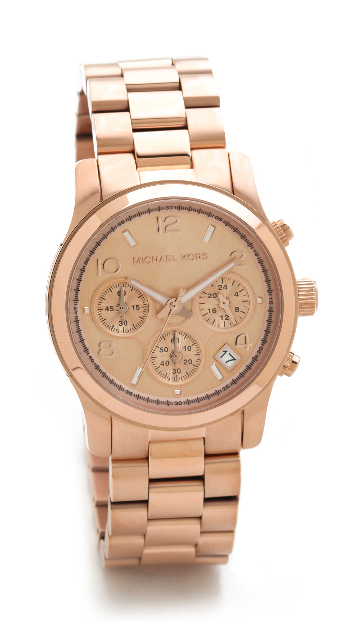Michael kors runway watch rose gold in gold pink lyst for Watches michael kors