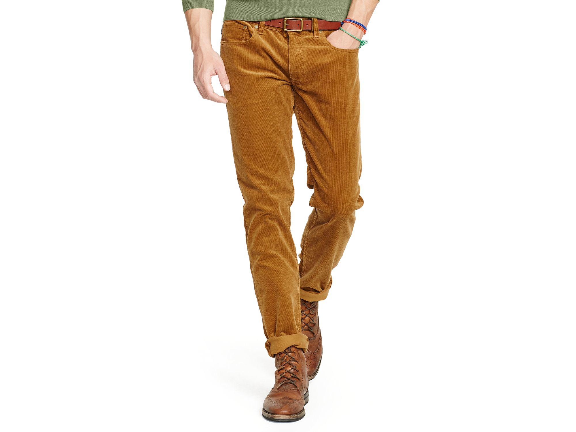 Men Corduroy Brown Varick Ralph Lauren Polo Slim Straight Pants For 8OwP0knNXZ
