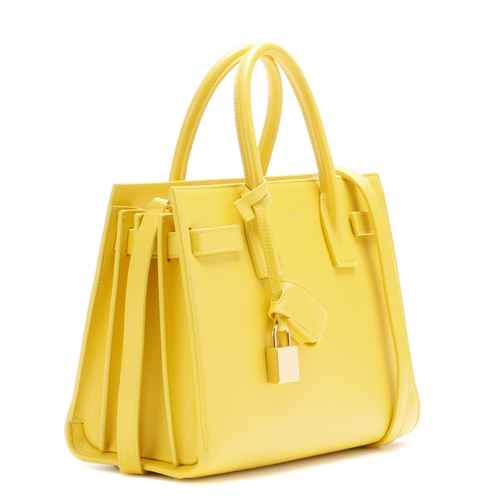 yves saint laurent black clutch - Saint laurent Sac De Jour Baby Leather Tote in Yellow | Lyst