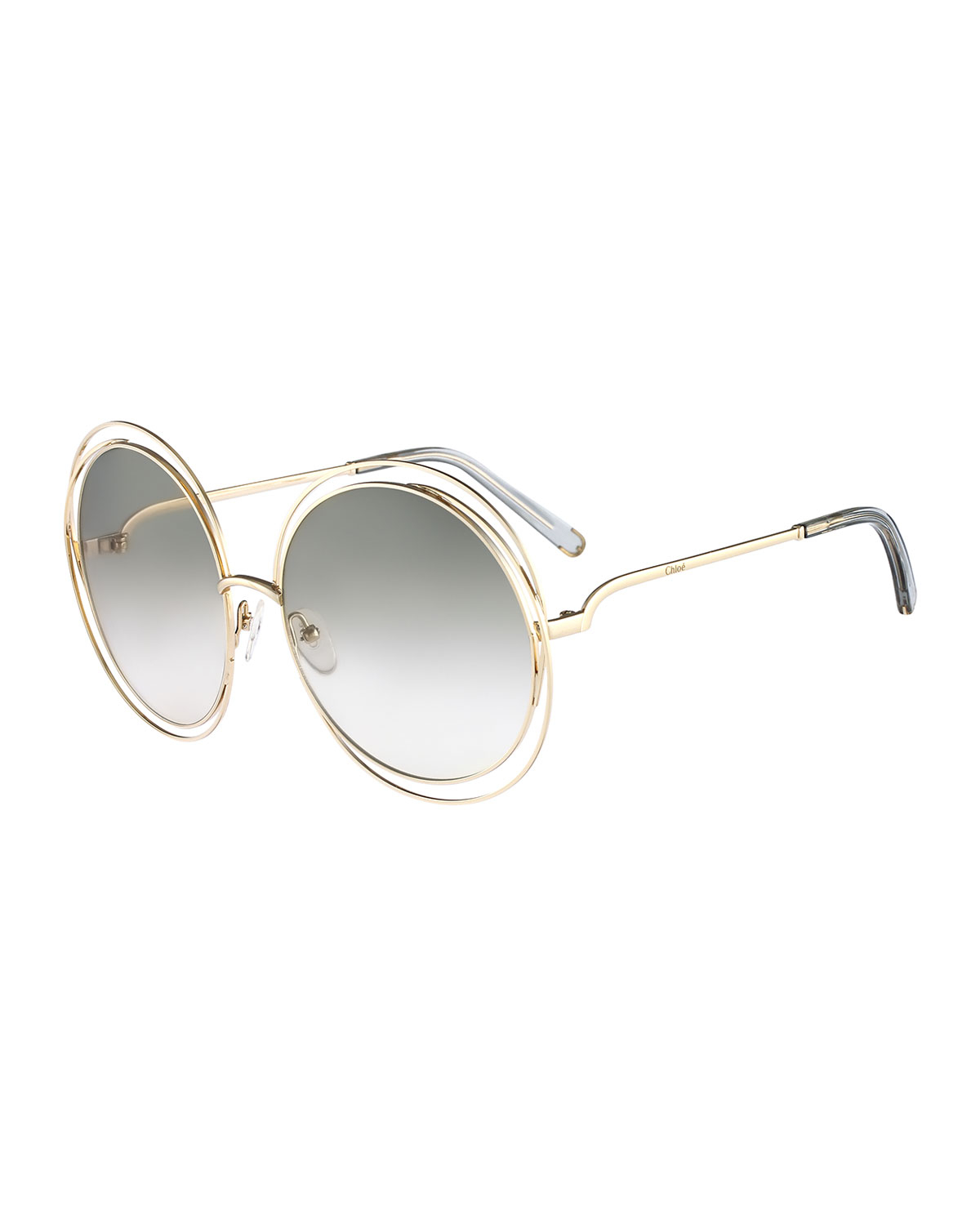 Chloe Carlina Round Wire-frame Sunglasses in Gold Lyst