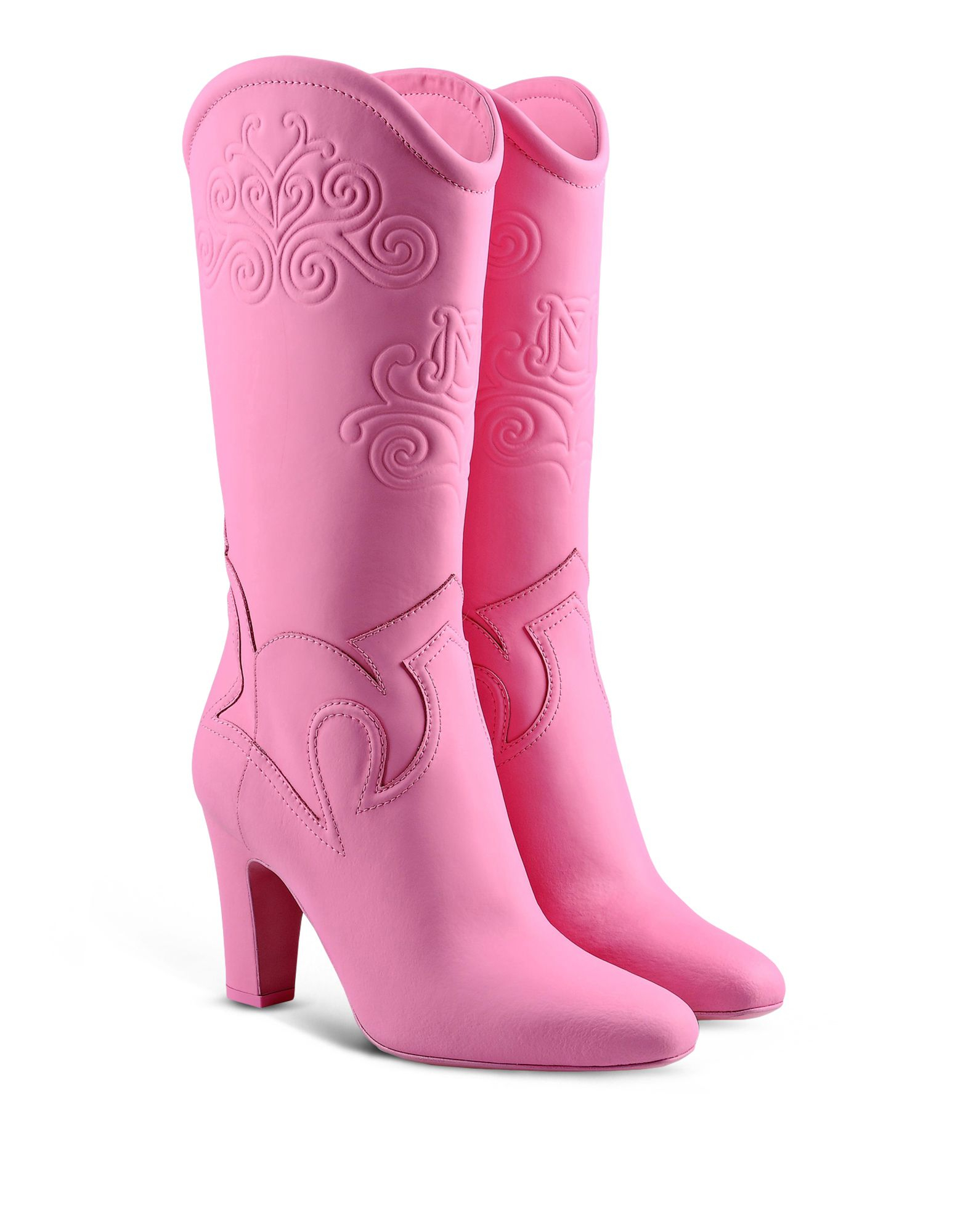 moschino high heeled boots in pink lyst