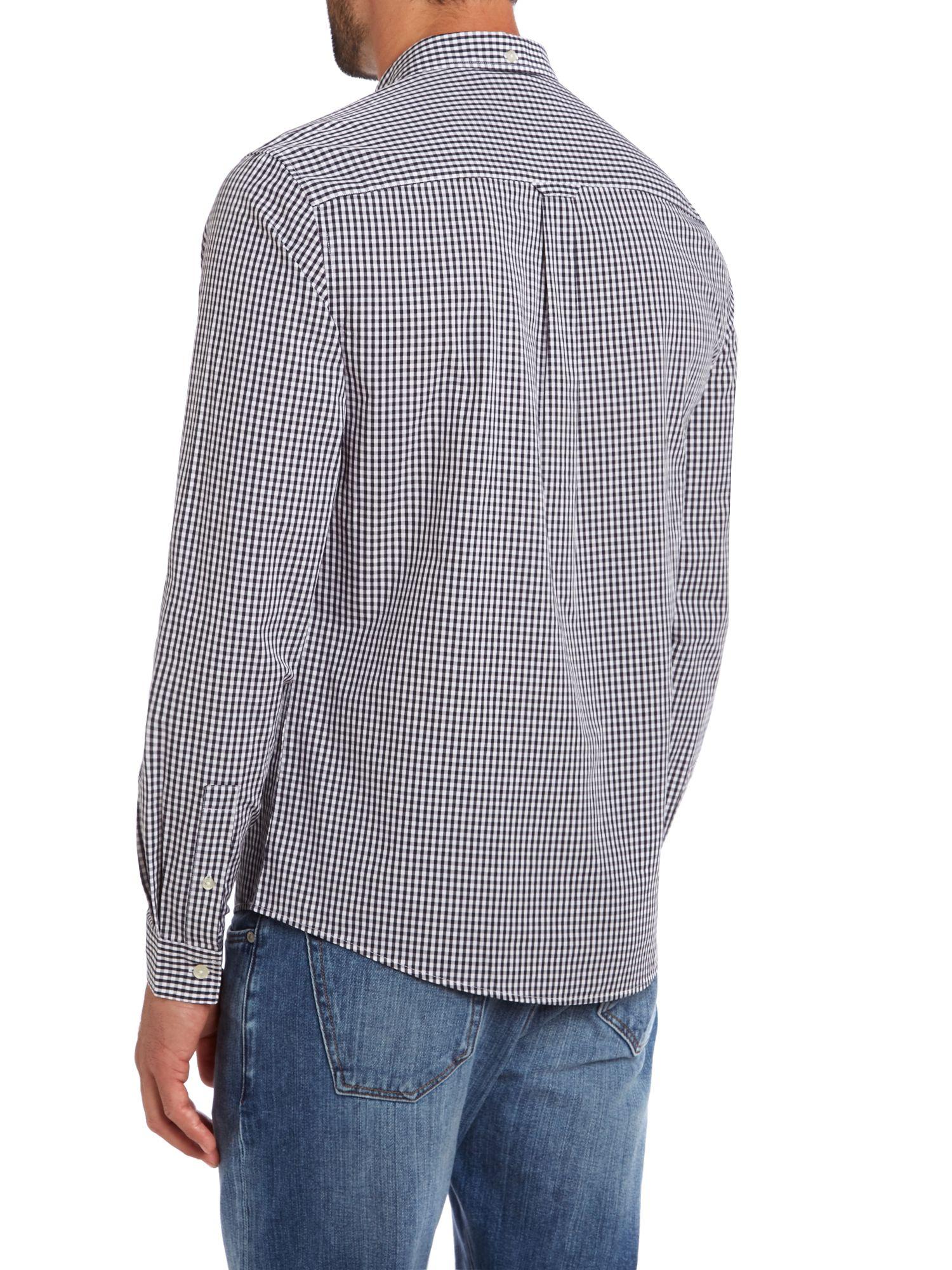 Lyle & Scott Cotton Long Sleeve Gingham Shirt in Navy (Blue) for Men