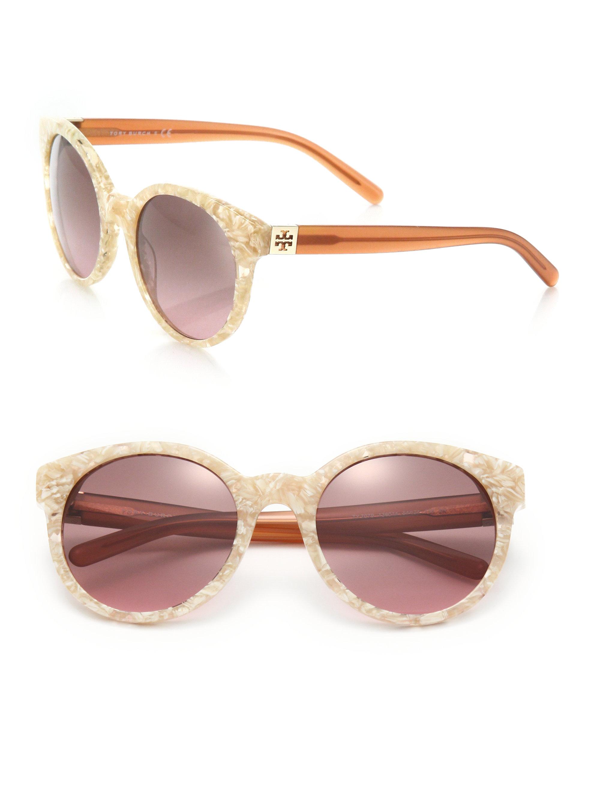 aea2c541af64 Lyst - Tory Burch Vintage 54mm Round Sunglasses in Orange