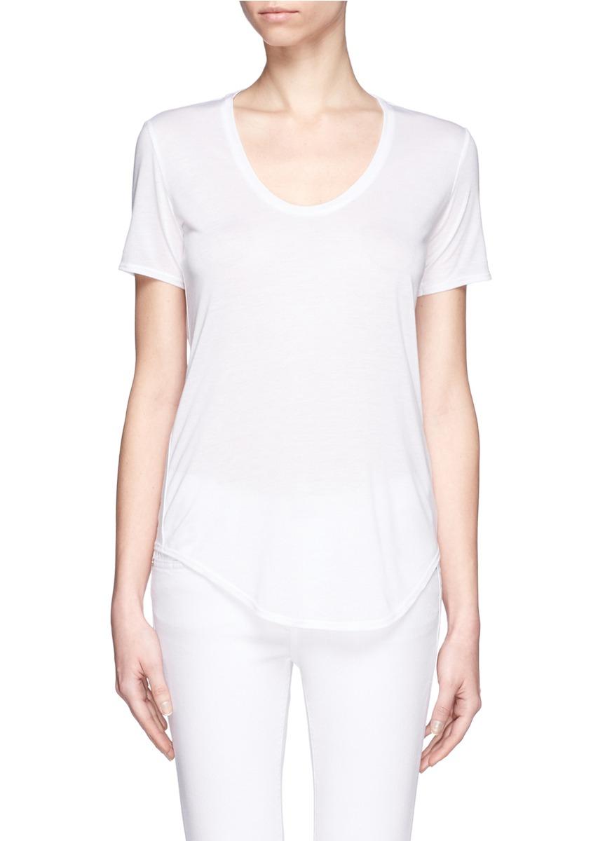 helmut lang micro modal blend jersey t shirt in white lyst. Black Bedroom Furniture Sets. Home Design Ideas