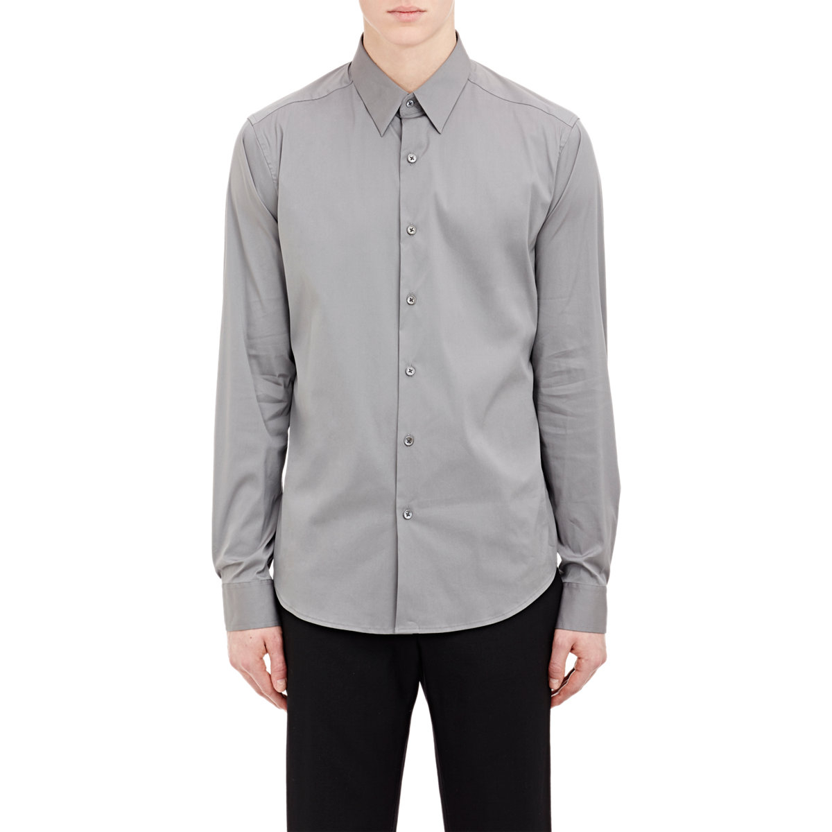 theory poplin dress shirt blue size small in gray for men
