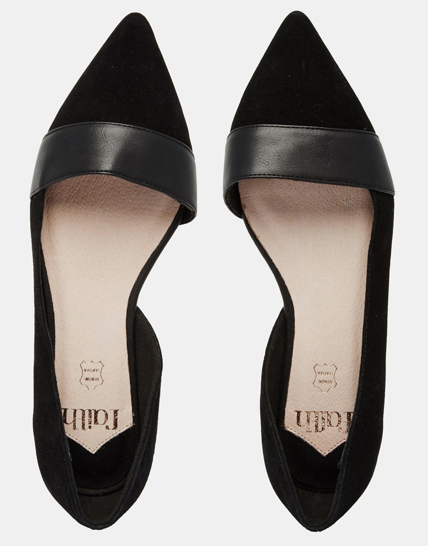 cb58f8b2f Faith Ace Black Pointed Flat Shoes in Black - Lyst