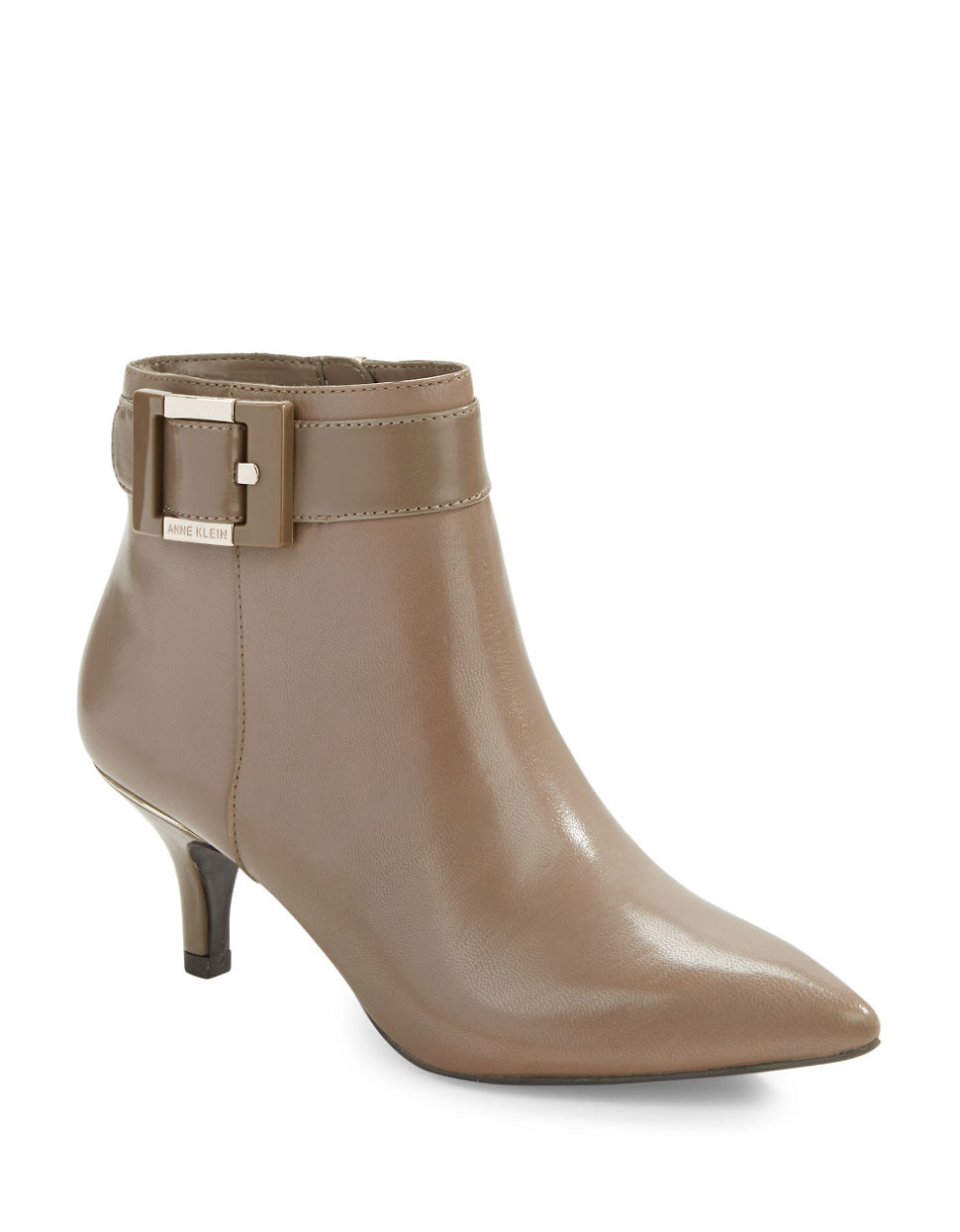 Anne Klein Fabienne Leather Ankle Boots In Brown Lyst