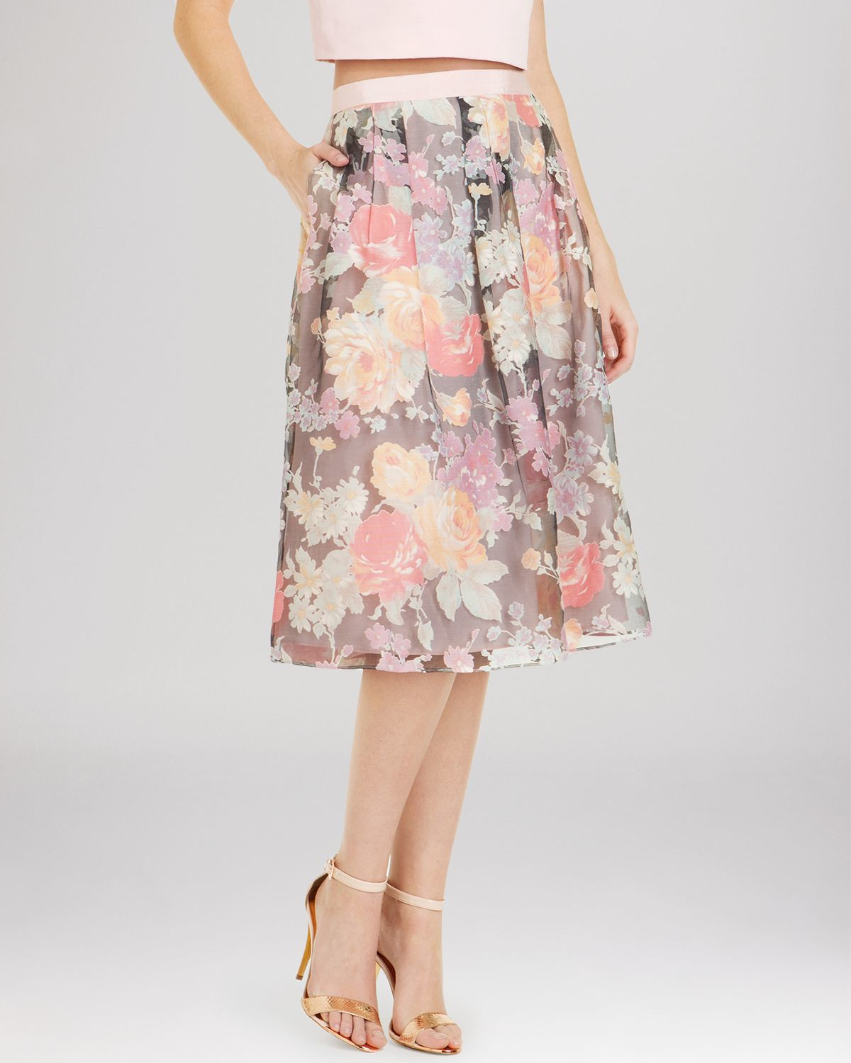 ted baker alaena floral print midi skirt in pink lyst