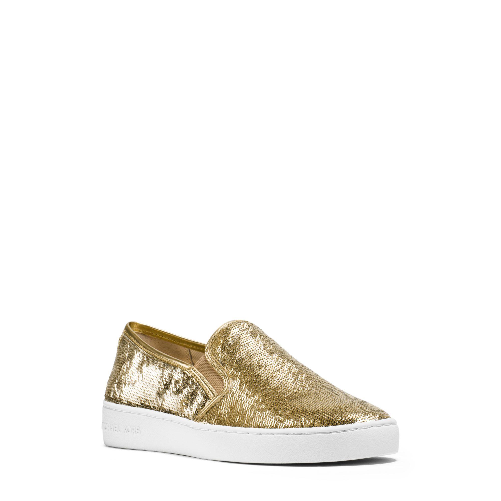 michael kors keaton sequined slip on sneaker in metallic lyst. Black Bedroom Furniture Sets. Home Design Ideas