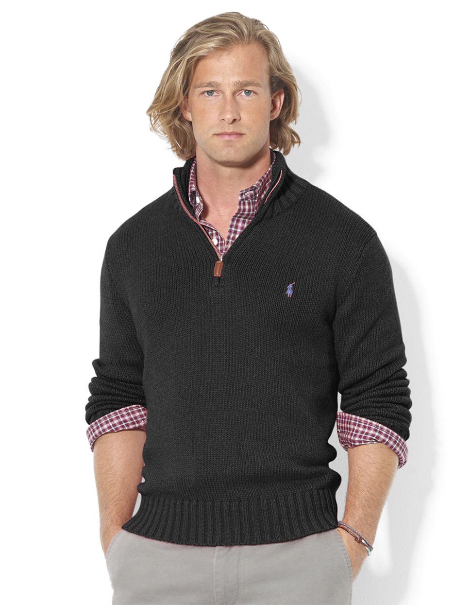 ... Ralph Lauren Men Grey Mesh Cotton Half-zip Sweaters ...