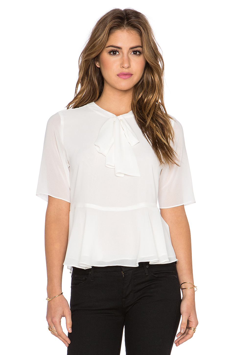 White Ruffle Neck Blouse 31