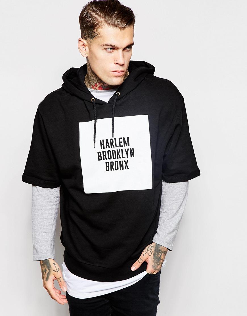 Asos Oversized Short Sleeve Hoodie With Brooklyn Print in Black ...