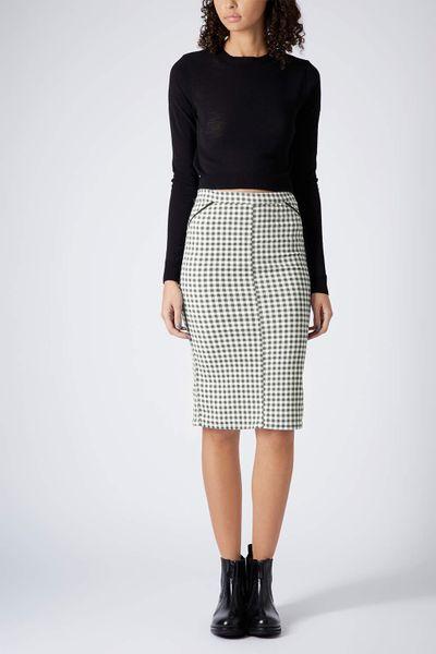 topshop moto gingham pencil skirt in black lyst