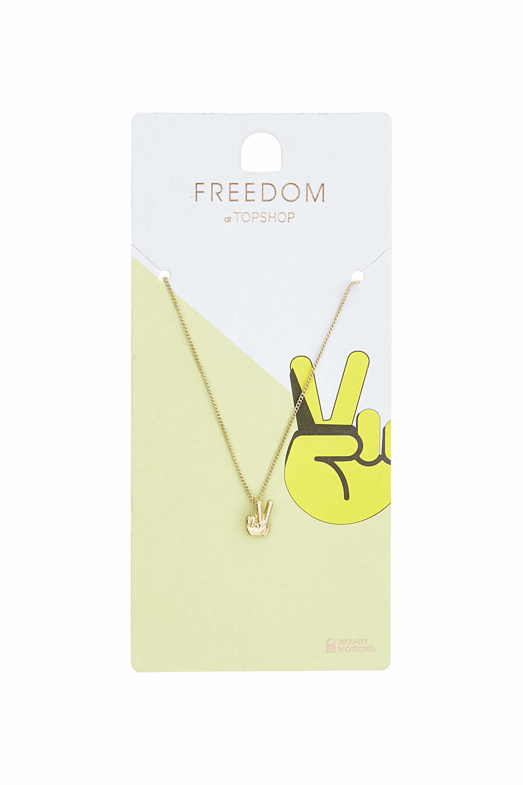 TOPSHOP Peace Sign Ditsy Necklace in Gold (Metallic)