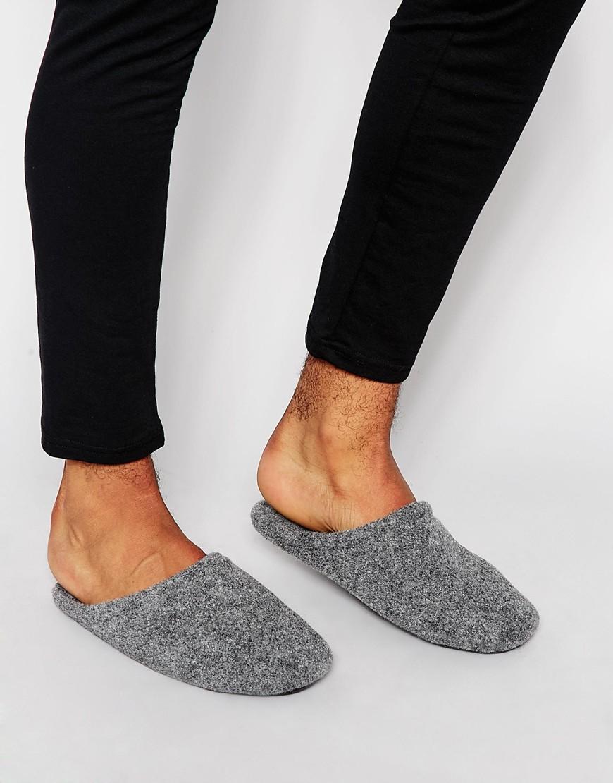 ASOS Slip On Slippers In Grey Marl in