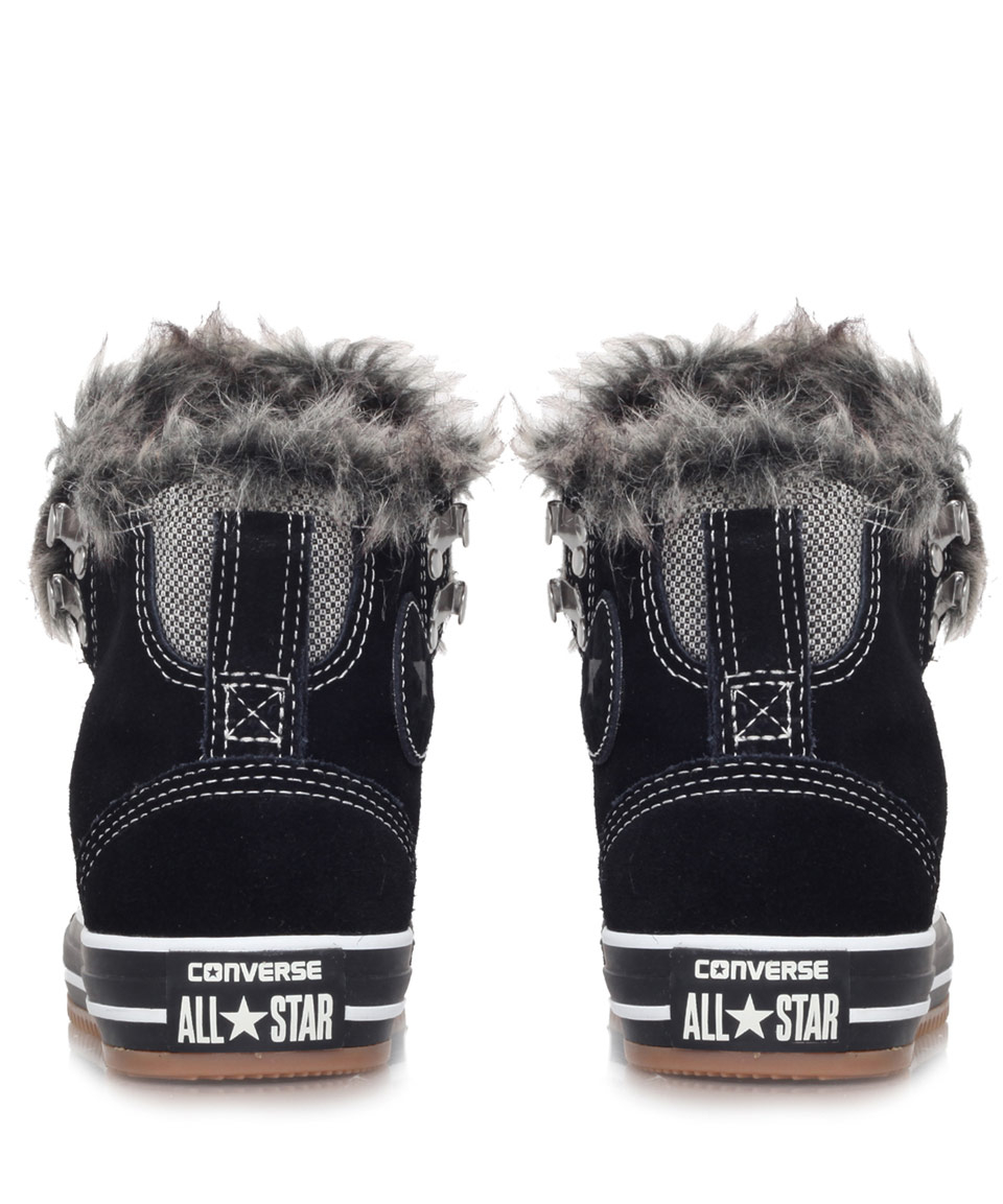 785495e0f79697 Lyst - Converse Black Chuck Taylor Climber Faux Fur Trainers in ...