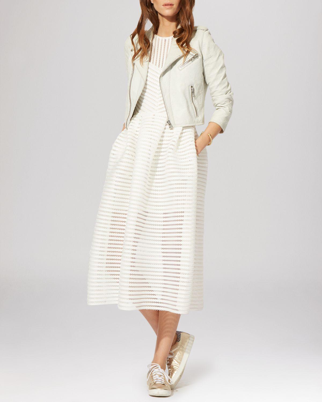 Maje Dress Rire Mesh Stripe Midi In Natural Lyst