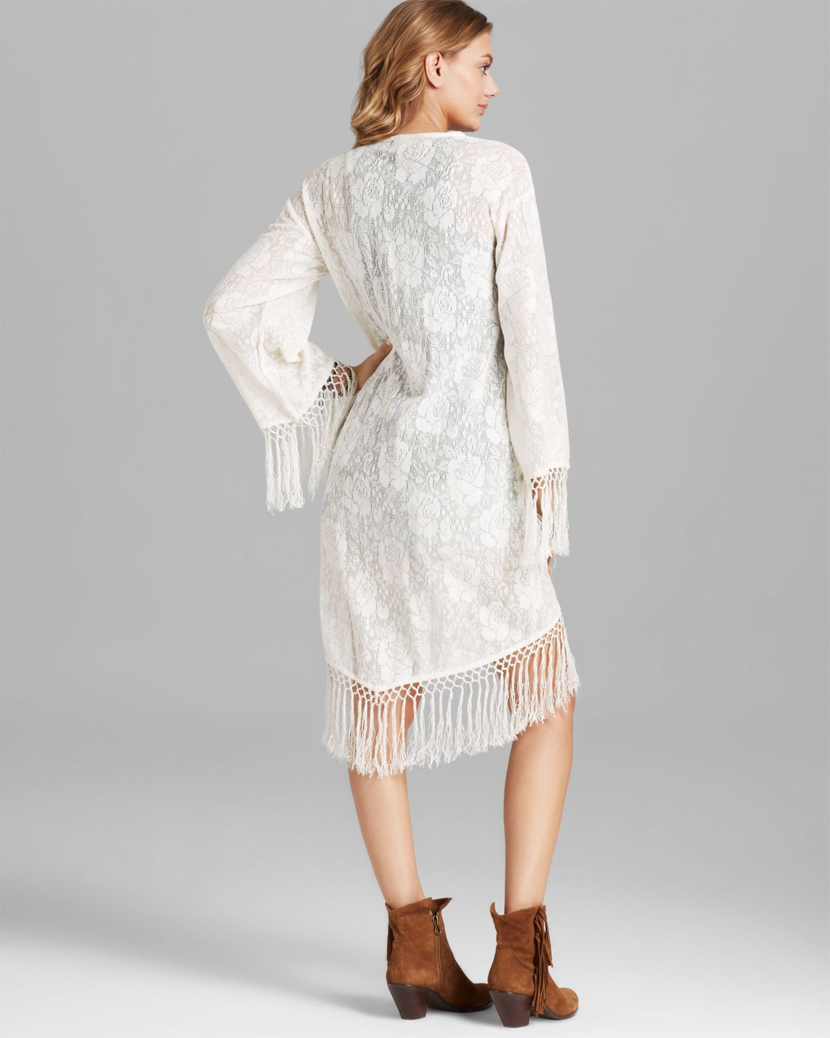 Minkpink Kimono Cardigan - Lace Fringe in Natural | Lyst