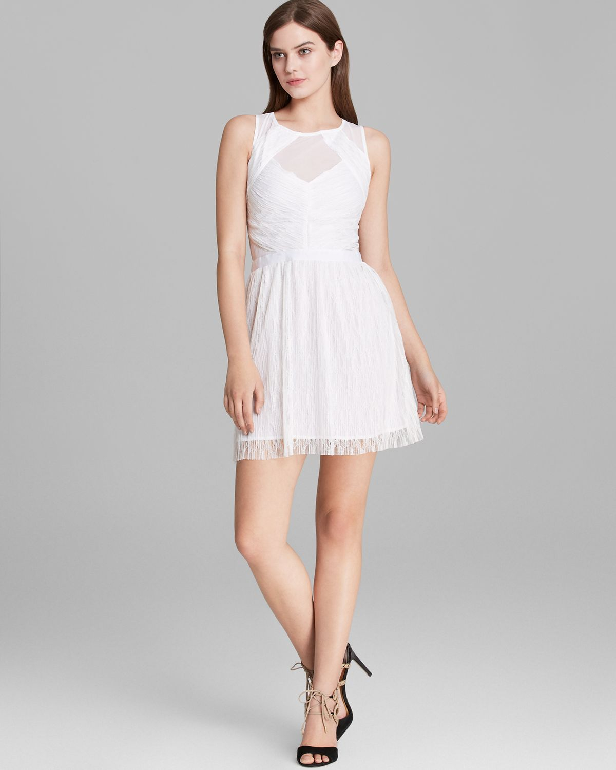 Guess Dress Crinkle Lace In White Lyst