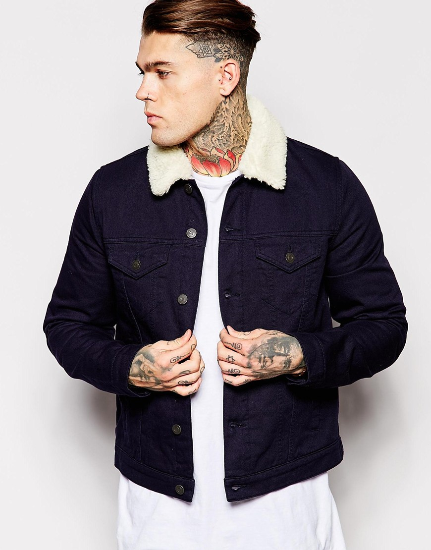 Asos Denim Jacket With Borg Collar In Navy in Natural for Men | Lyst