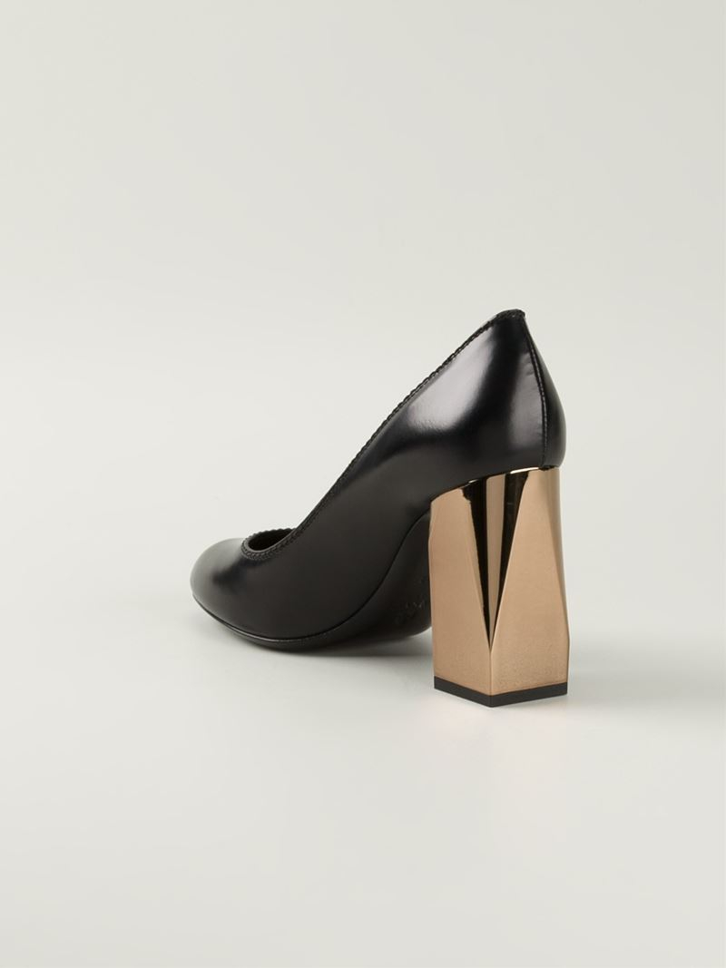 Lanvin Gold Block Heel Pumps in Black