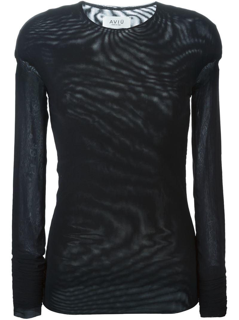 Lyst aviu sheer long sleeve t shirt in black for Mesh long sleeve t shirt