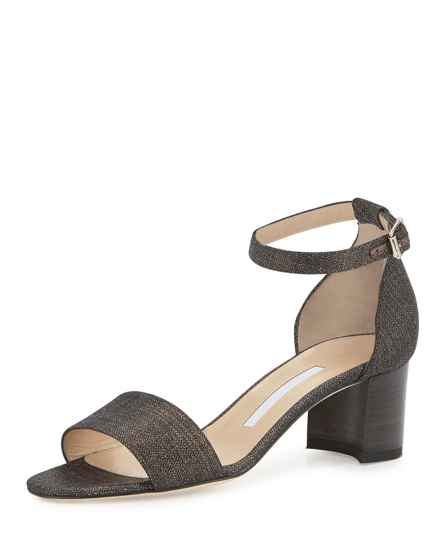 c100cfbac584 Lyst - Manolo Blahnik Lauratomod Ankle-Strap Denim Sandals in Gray