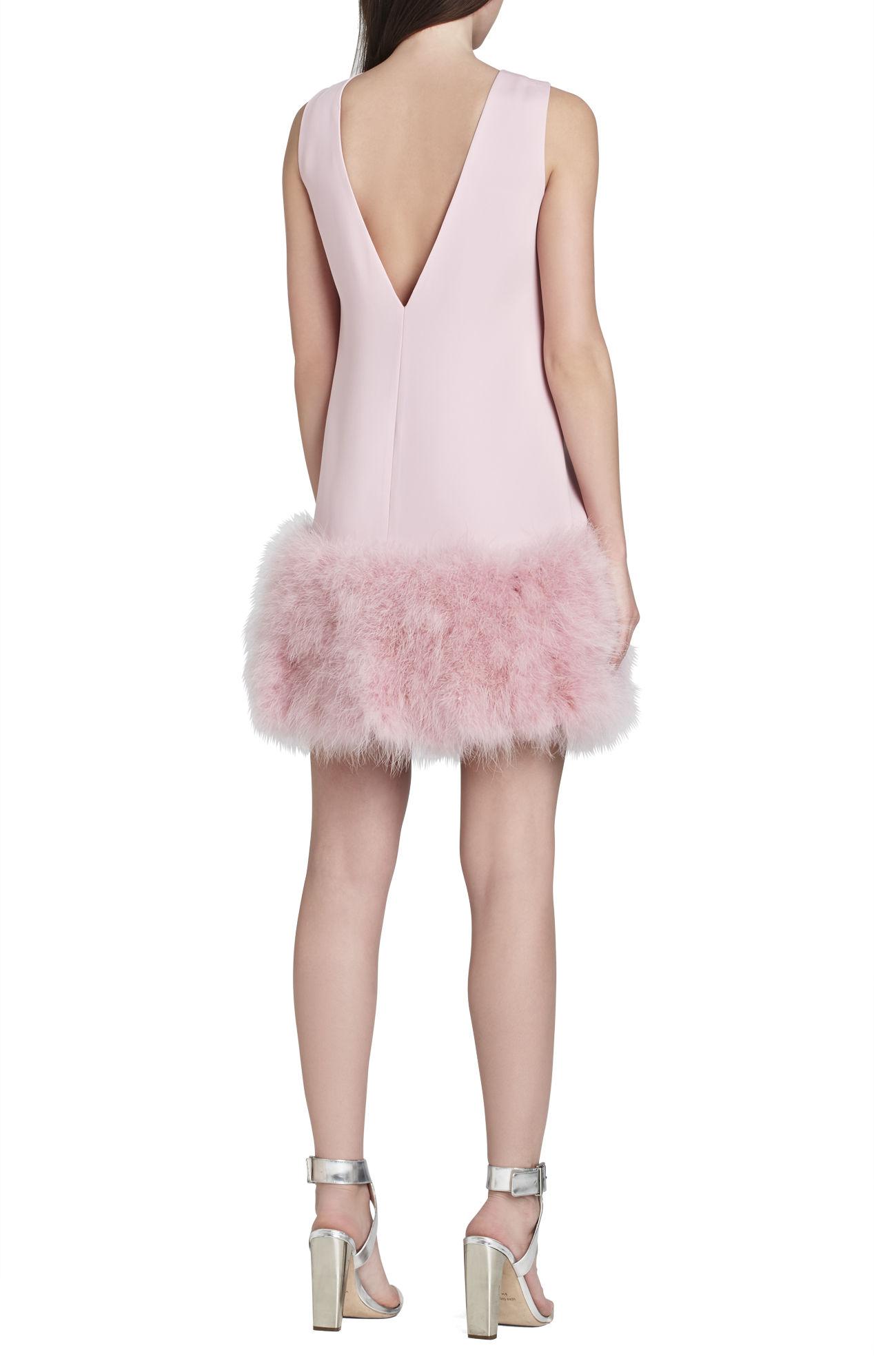Bcbgmaxazria Jamysen V Neck Feather Hem Dress In Pink Rose