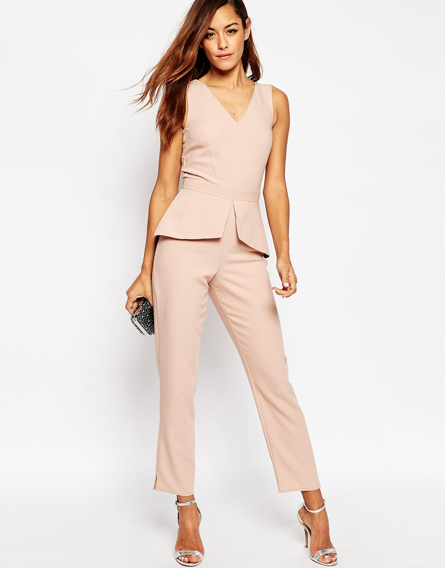 Asos jumpsuit with peplum detail in pink nude save 31 - Jumpsuit zur hochzeit ...