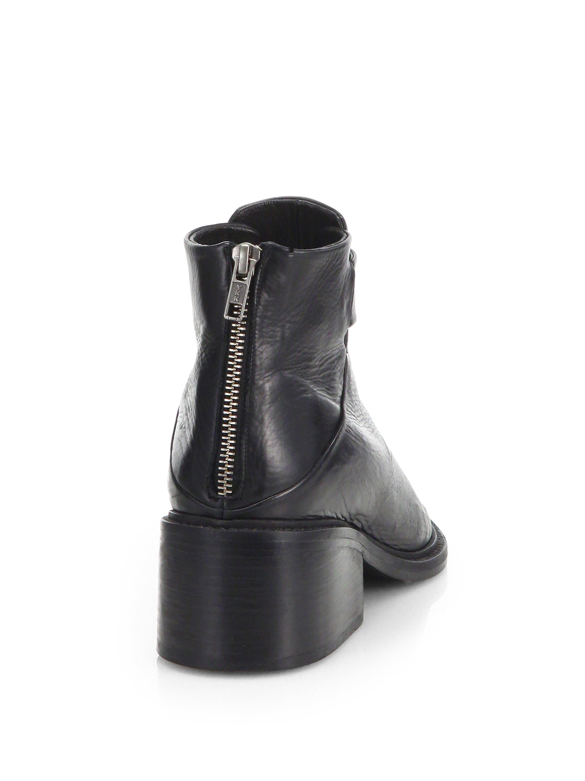 Envelope Back,Zip Leather Ankle Boots