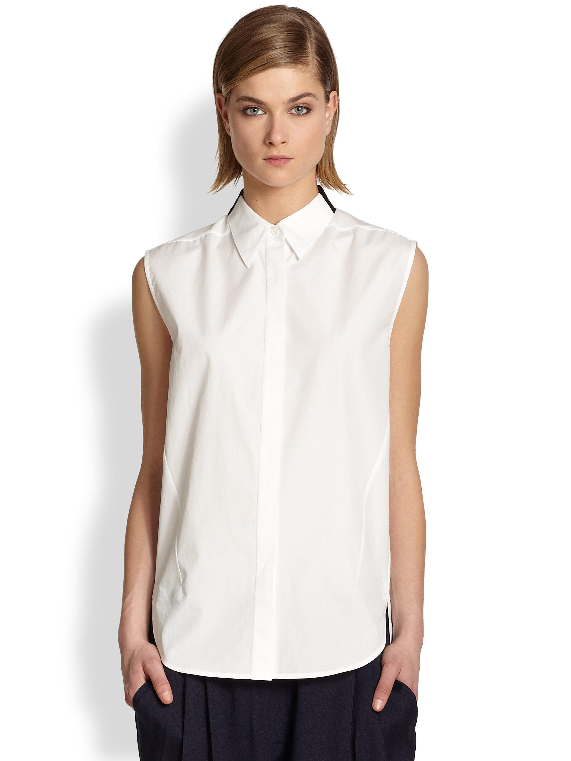 89b6a5a713c3e5 Lyst - 3.1 Phillip Lim Sleeveless Cotton Shirt in White