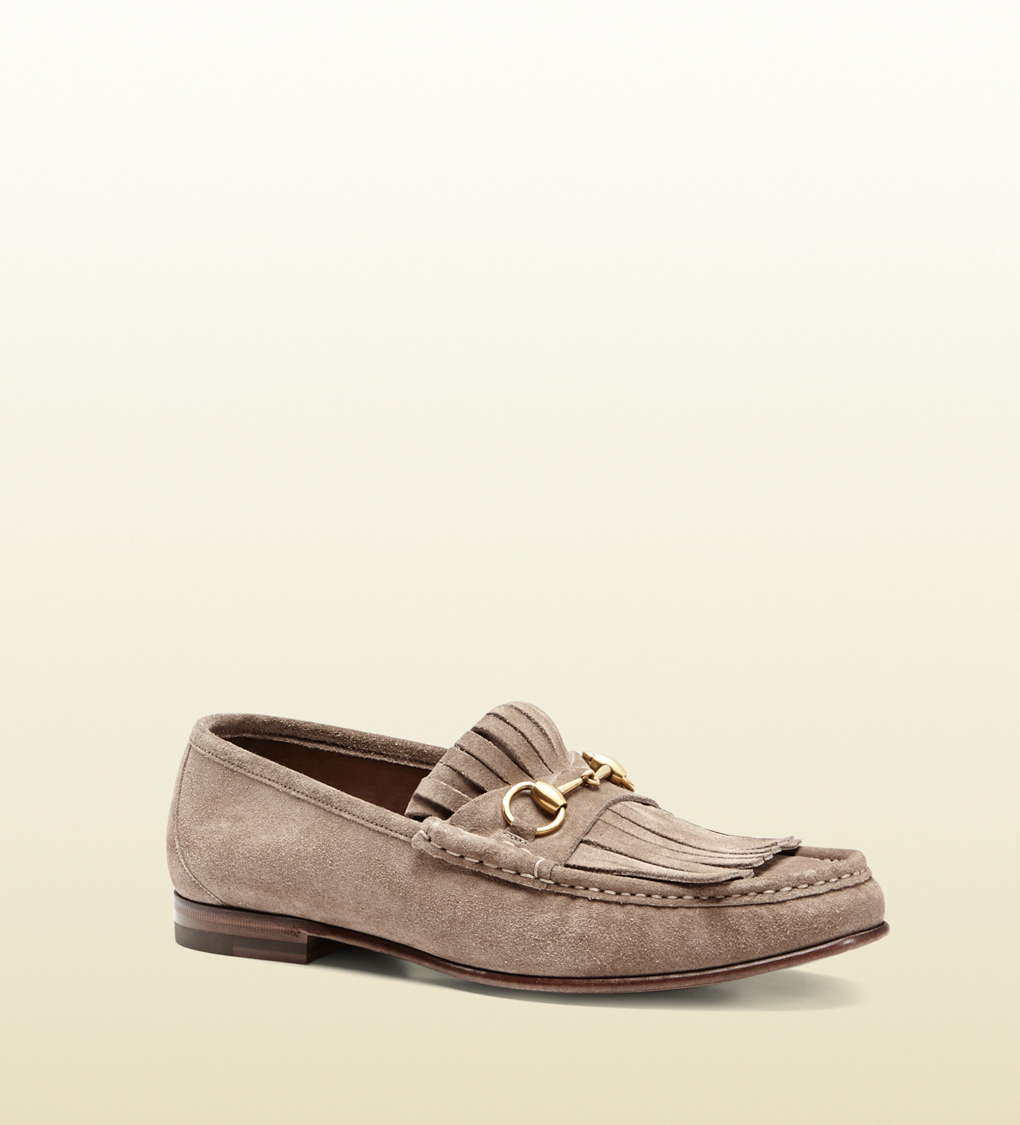 4d0770a3580 Lyst - Gucci Suede Fringe Horsebit Loafer in Natural for Men