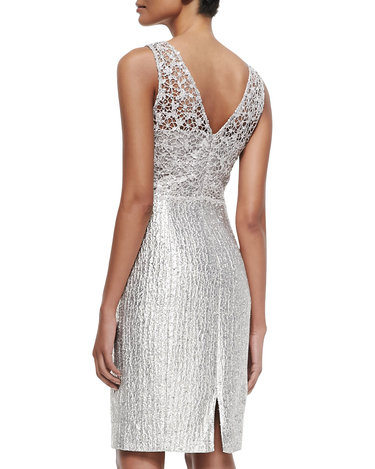 Lyst - Kay Unger Sequined Lace Bodice Cocktail Dress in Metallic