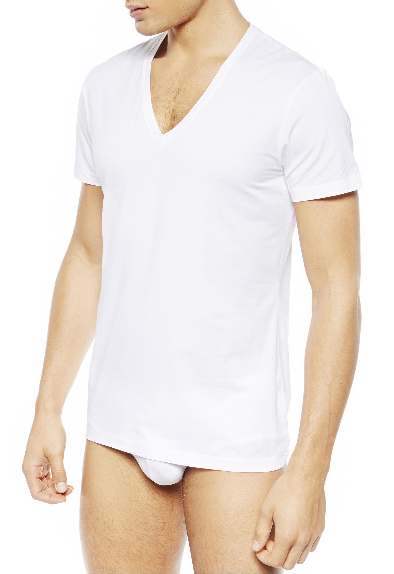 La perla new v neck t shirt in white for men lyst for V neck white t shirts for men