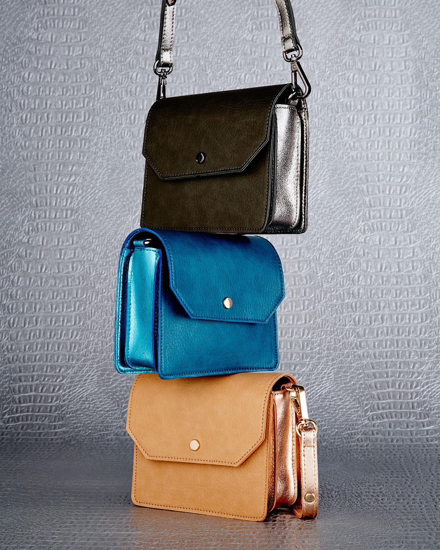 neiman metallic trim faux leather crossbody bag in