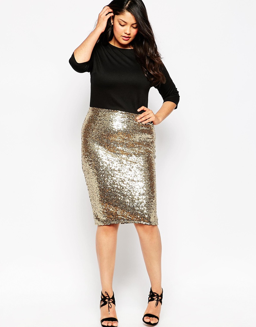Plus Size Bodycon Dress With Sequin Skirt