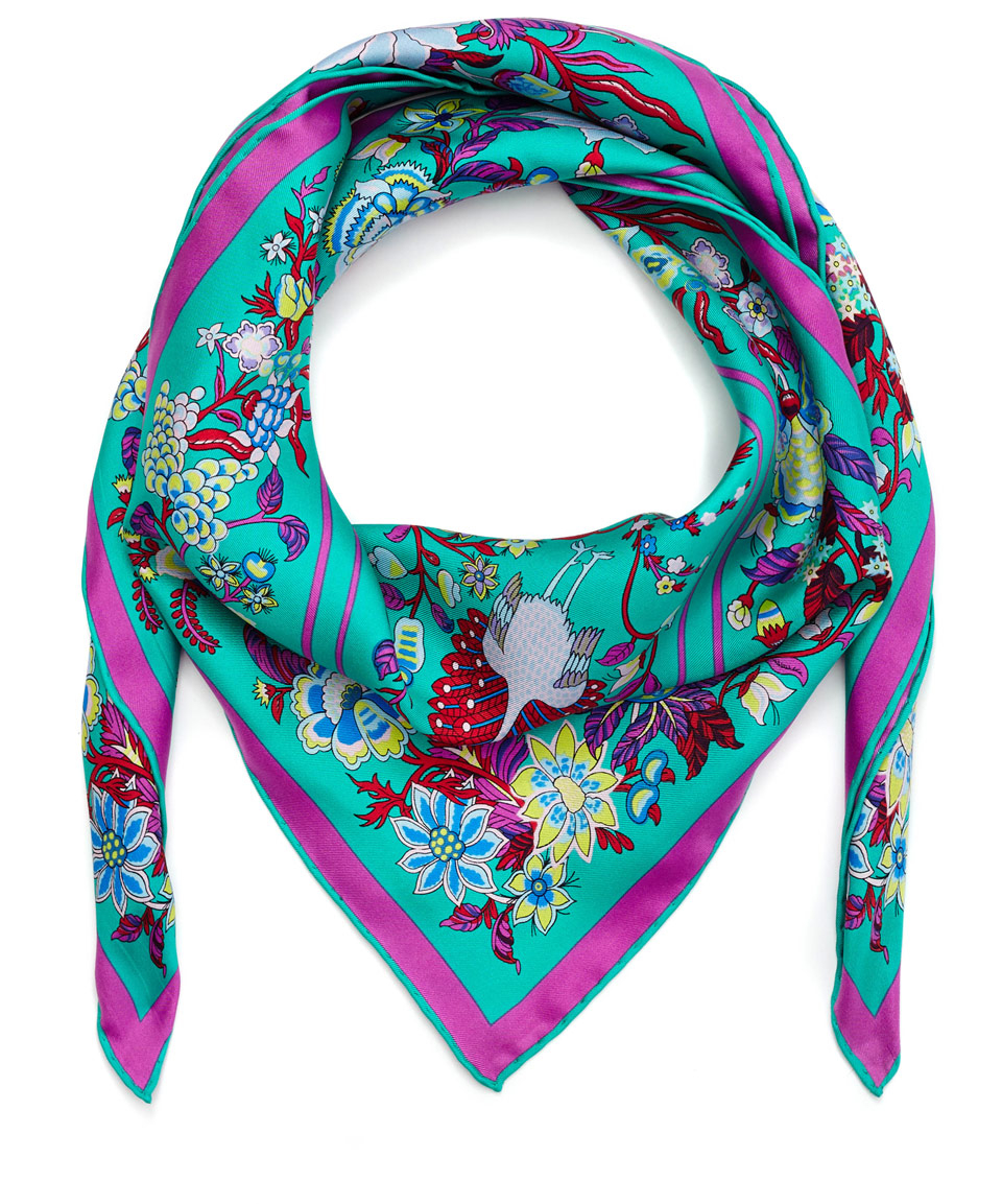 liberty green tree of silk scarf in green lyst