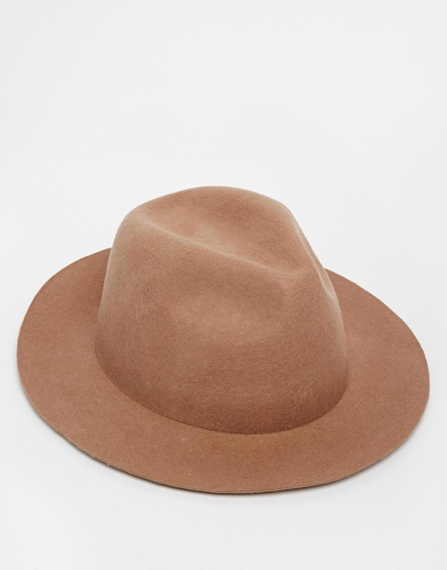 Lyst - ASOS Fedora Hat In Camel Felt With Unstructured Brim in ... f3fdf6d6eb3