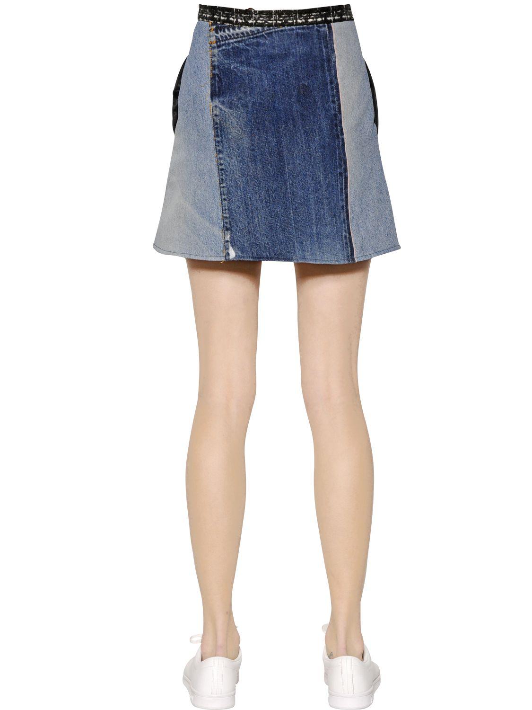 Vinti andrews Patchwork Cotton Denim Skirt in Blue | Lyst