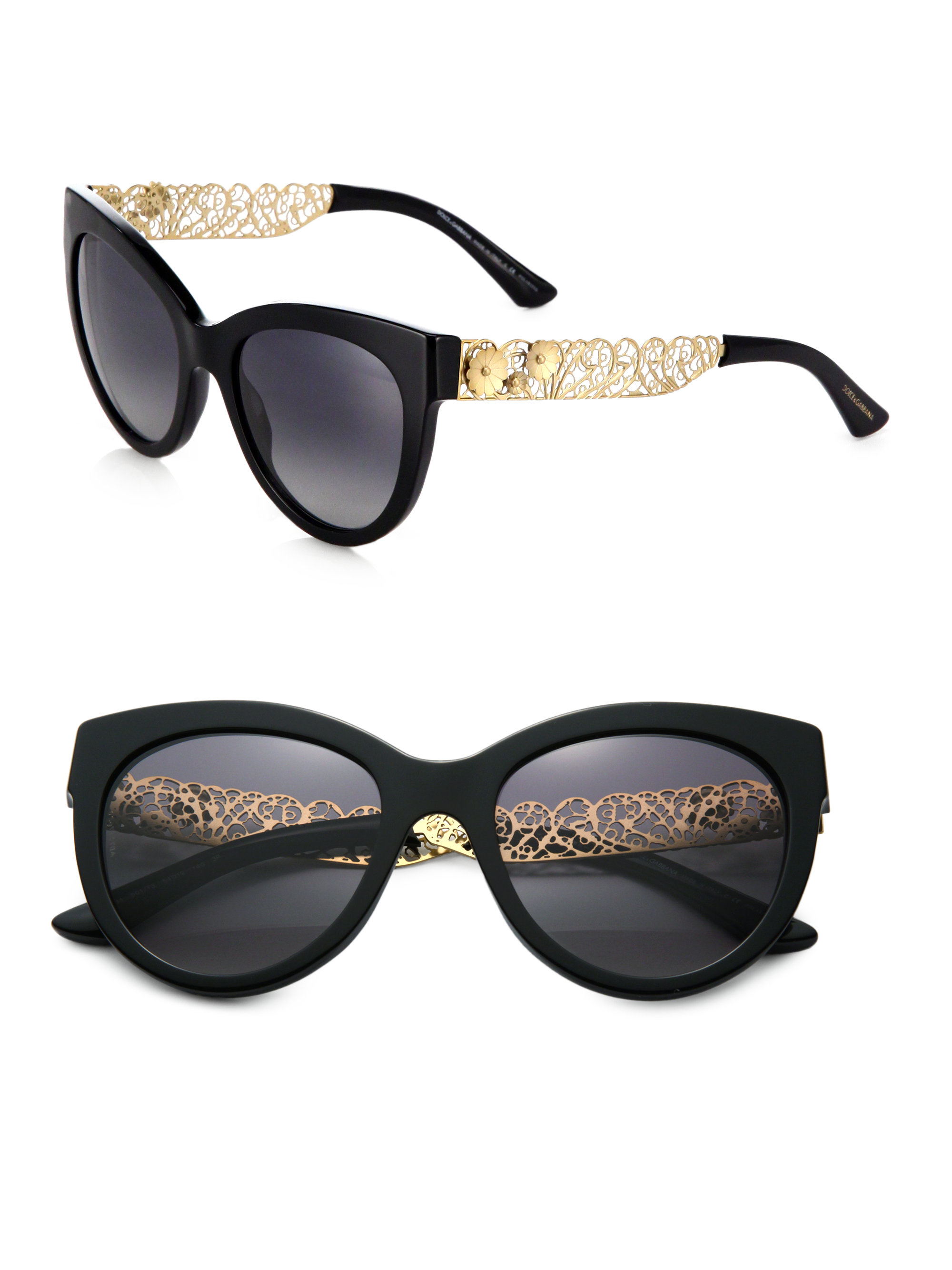 Lyst Dolce Amp Gabbana Filigree Cat S Eye Sunglasses In Black