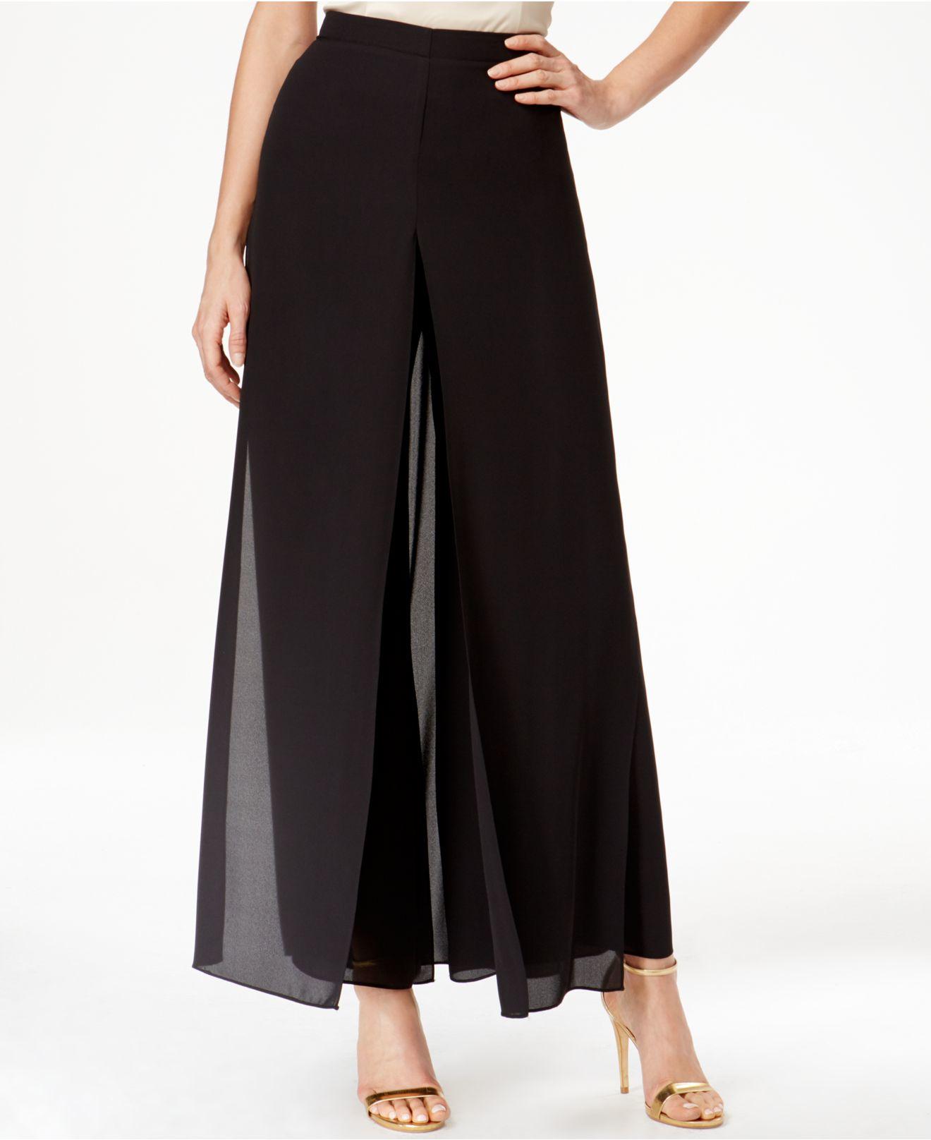 Lyst Tahari Chiffon Overlay Wide Leg Pants In Black