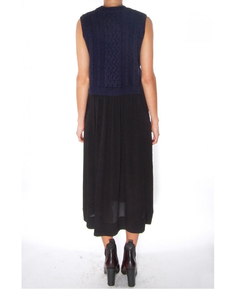 Sea Navy Black Knit And Pleats Dress In Blue Lyst