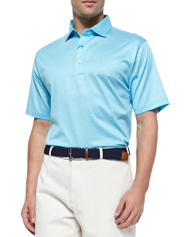 Peter millar monty hairline lisle polo shirt in blue for for Peter millar polo shirts