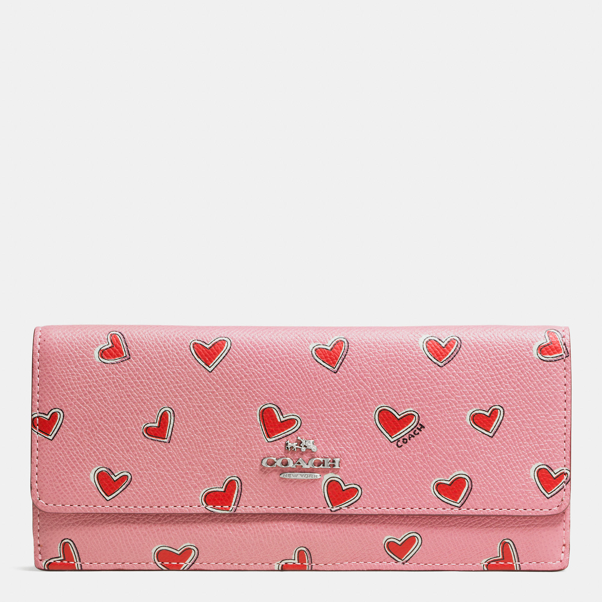 Lyst Coach Soft Wallet In Heart Print Crossgrain Leather