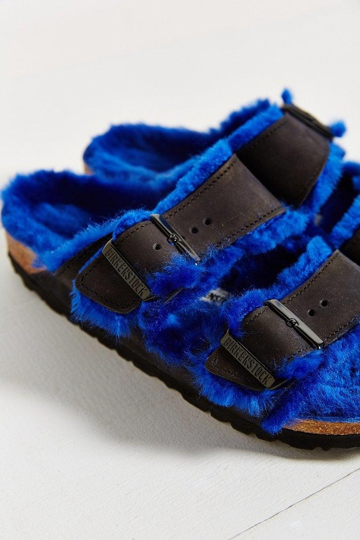 Lyst Birkenstock Arizona Blue Shearling Slide Sandal In Blue