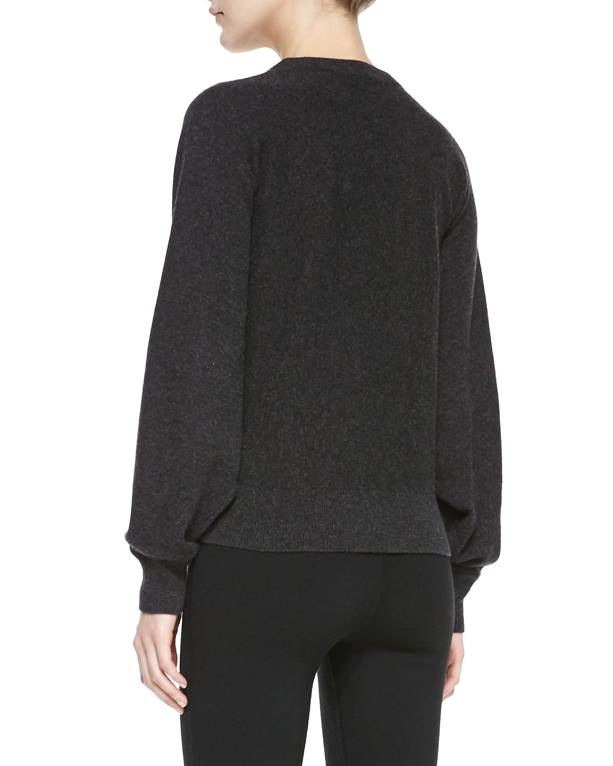 michael kors longsleeve cashmere pullover sweater in gray charcoal lyst. Black Bedroom Furniture Sets. Home Design Ideas