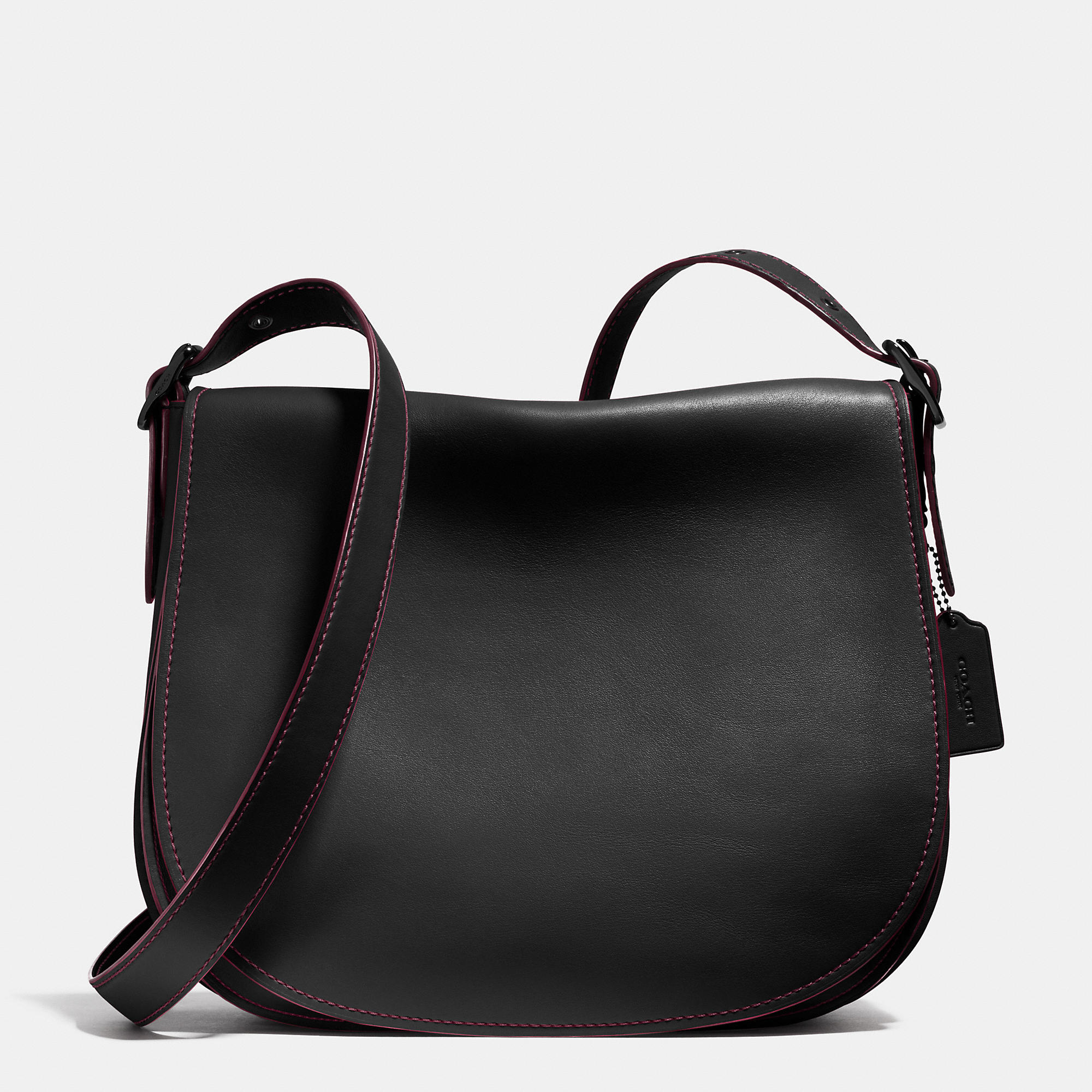 f74198b7cb25 Lyst - COACH Saddle Bag 35 In Glovetanned Leather in Black